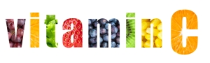 Vitamin C word on white background. Fresh fruits and vegetables